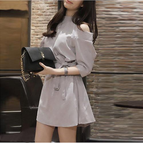 【ワンピース】ファッション無地七分袖デートワンピース16742478