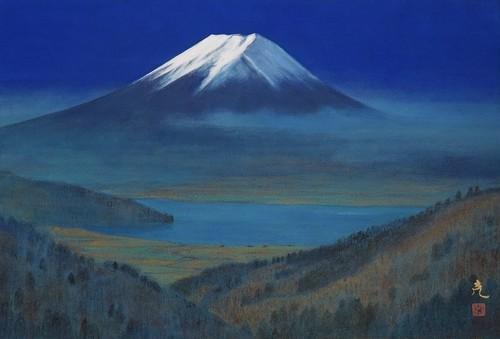 国府克 「遥か湖上富士」 日本画 12号 共シール