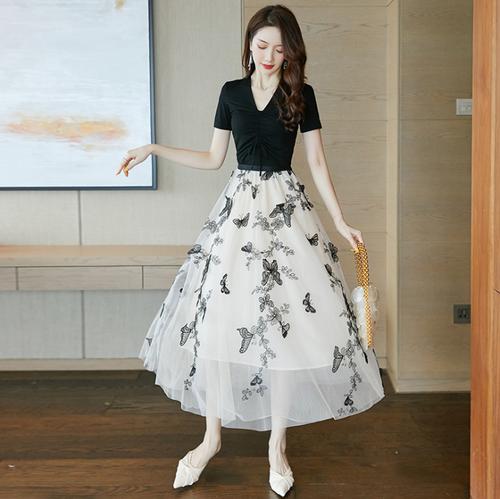 【dress】高級感 エレガントオシャレ優しい雰囲気切り替えデートワンピース M-0305
