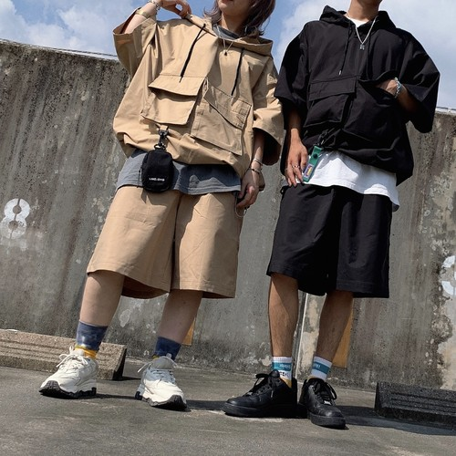 【即納】韓国ファッション Wポケットミリタリープルオーバー
