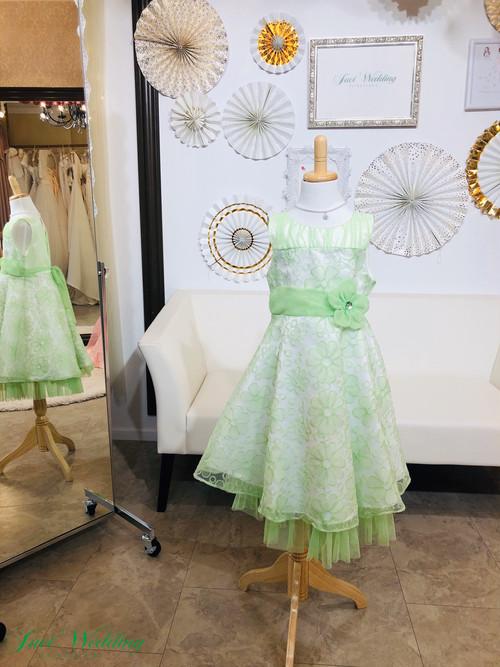 お姫様 ドレス ワンピース 花柄 刺繍 お呼ばれ 発表会 120センチ 白 ライトグリーン
