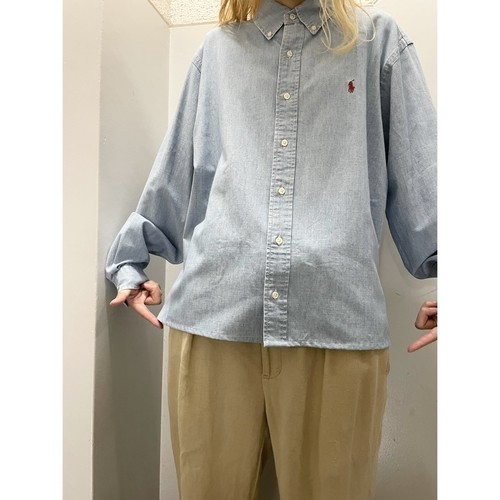 90's Ralph Lauren カットオフ シャンブレーシャツ