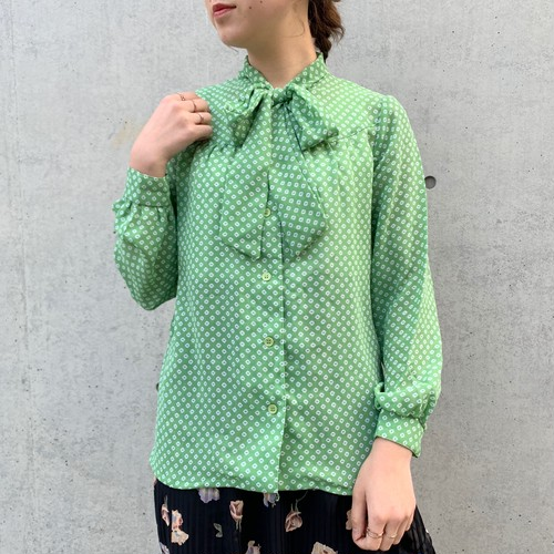 (LOOK) design bow tie blouse