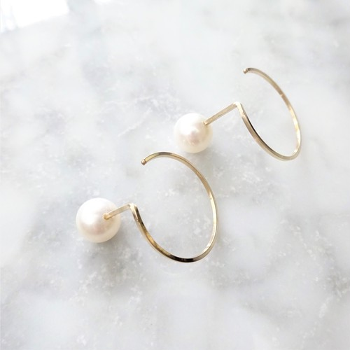 14kgf*Freshwater pearl CIRCLE pierced earring