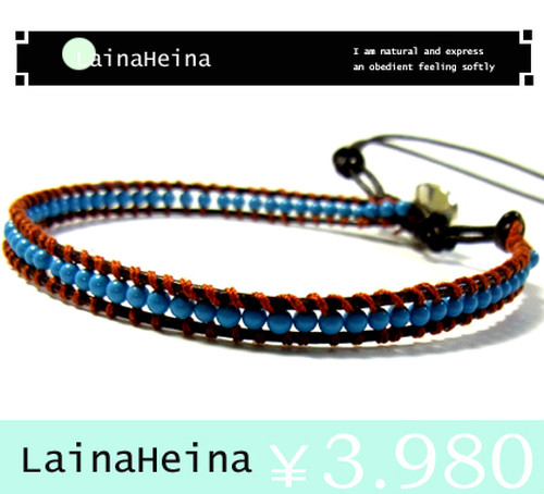 LainaHeina/ターコイズ&シルバー925ブレスレット:16cm?21cmシングル