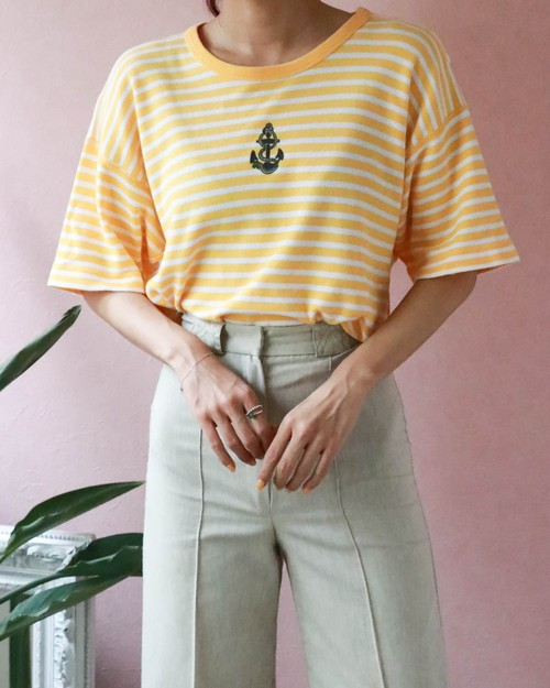 80s SONIA RYKIEL yellow border t-shirt