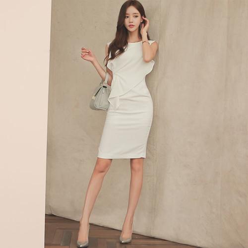 ★☆ノースリーブアシンメトリータイトドレス♪ホワイト