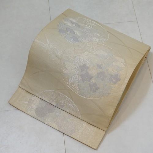 未使用【夏帯】紗 袋帯 丸紋 花柄 絹 銀糸 生成り色 276