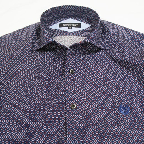 HORIZONTAL COLLAR L/S SHIRT  NAVY