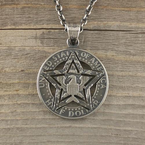 【受注生産】ARMY STAR STENCIL CUTCOIN PENDANT 50¢【KENNEDY HALF DOLLAR】