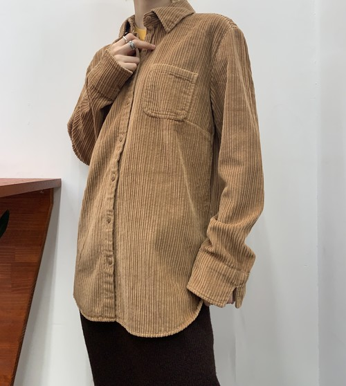 croft&barrow corduroy shirt brown 【M】
