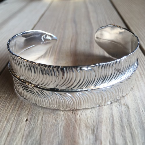 Big feather bangle   Silver