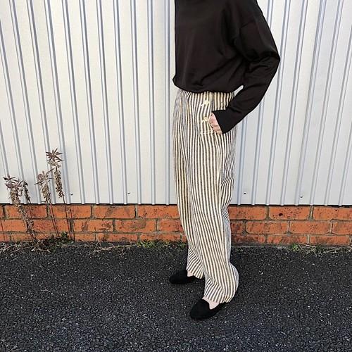cotton&linen-tweed marine pants | unfil
