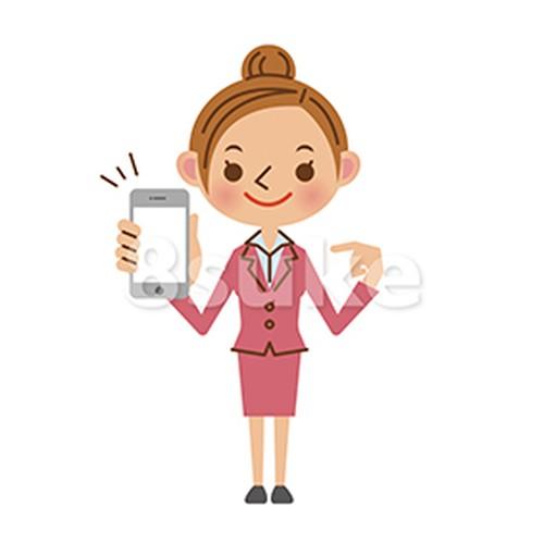 イラスト素材:スマートフォンを持つビジネスウーマン(ベクター・JPG)