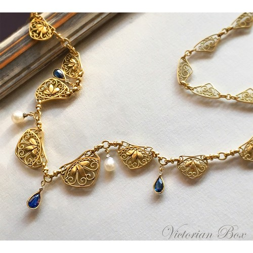 Antique Sapphire Ornate Necklace
