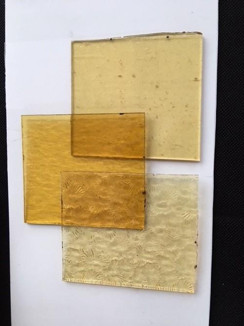 ステンドガラス ミニサイズ オーカー(黄色系) 3枚セット