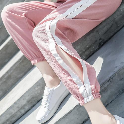 【ボトムズ】ファッションカジュアル足首丈スポーツパンツ