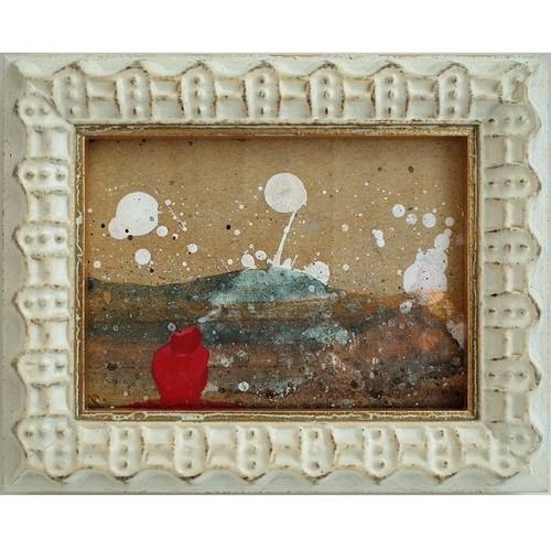 「赤い人」 段ボールにアクリル * 現代アート 絵画 抽象画 ミニ額 フレーム 内野隆文 takafumiuchino