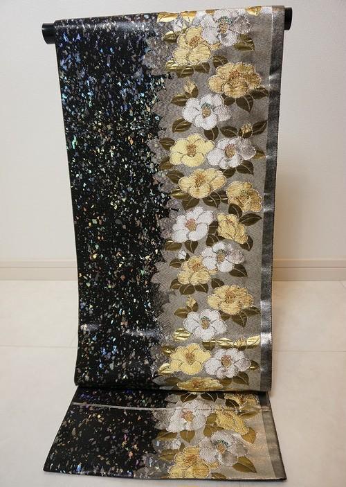 青銅箔 椿づくし 袋帯 金銀糸 黒 シルバー 182