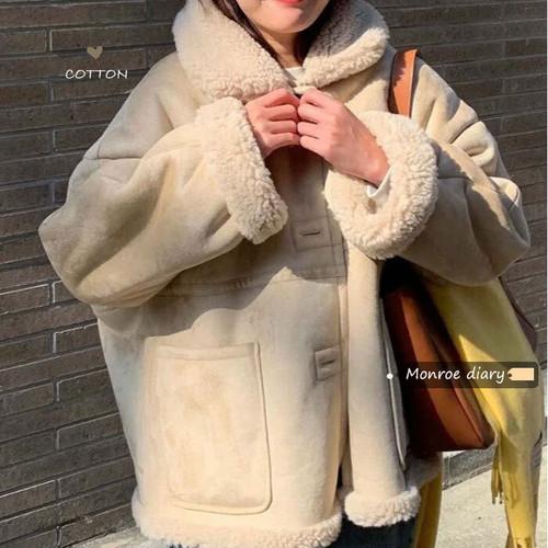 リバーシブル ボア ムートン ジャケット アウター 秋 冬 あったか 防寒 レディース ファッション 韓国 オルチャン
