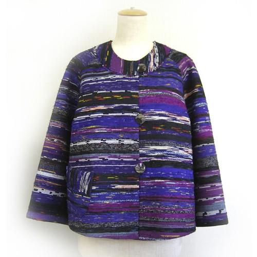 裂き織り ノーカラージャケット紫【ミセス・モトコ】