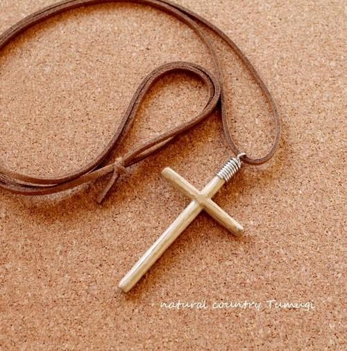 木の十字架(クロス)ネックレス#1[送料無料]