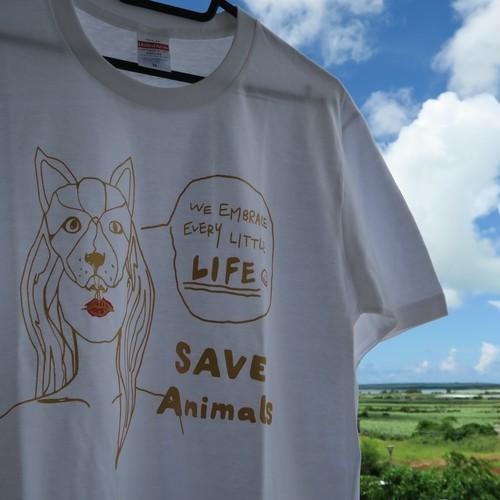 チャリティT-shirt/Dog/White&Gold