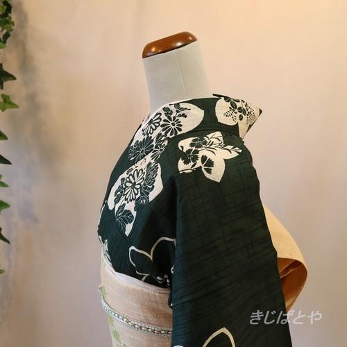 【T様ご予約品】綿麻 藍海松茶に秋の花の浴衣