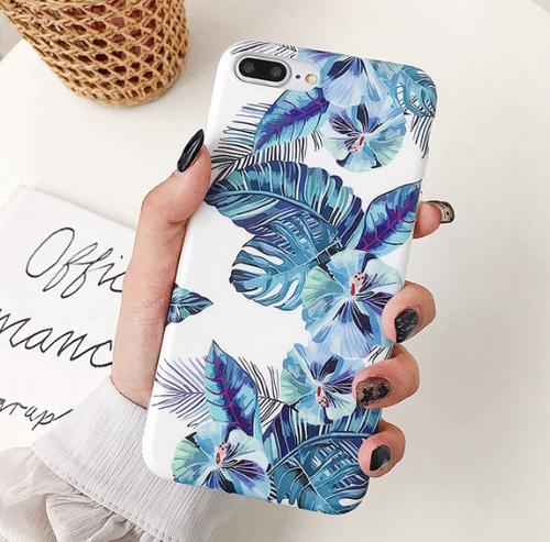 【お取り寄せ商品、送料無料】お洒落なフラワー ブルー iPhoneケース