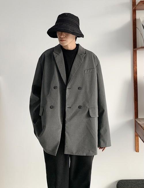 メンズカジュアルジャケットオーバーサイズ。ストライプ柄グレー/ブラック2カラー