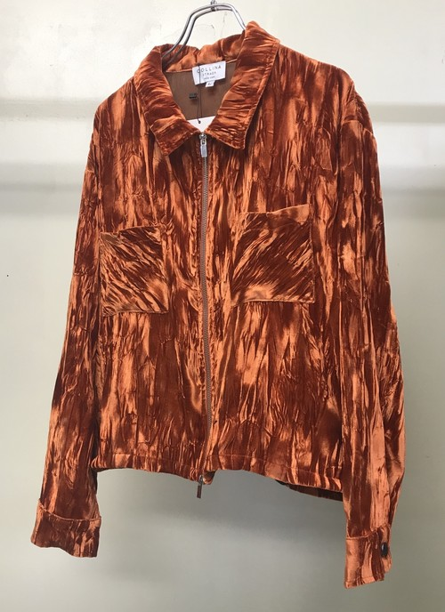 COLLINA STEADA CRUSHED VELVET MECHANIC JACKET ORANGE