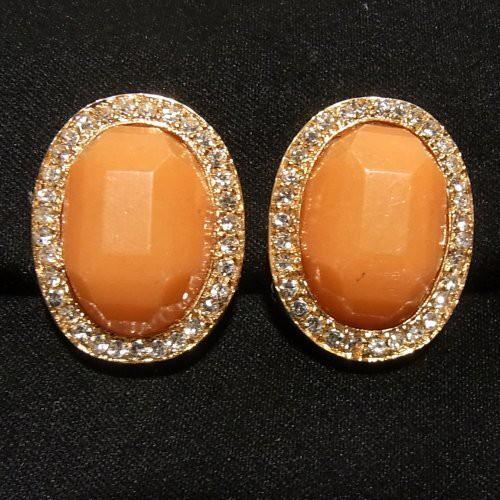 オレンジの楕円形、大ぶりイヤリング  ヴィンテージアクセサリー のセール通販 5989E