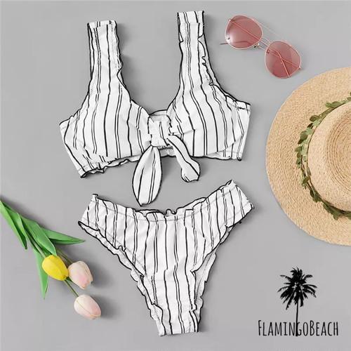 【FlamingoBeach】White stripe bikini ビキニ