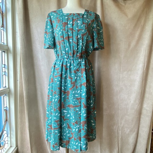 retro blue green × brown dress/レトロなブルーグリーンのワンピース
