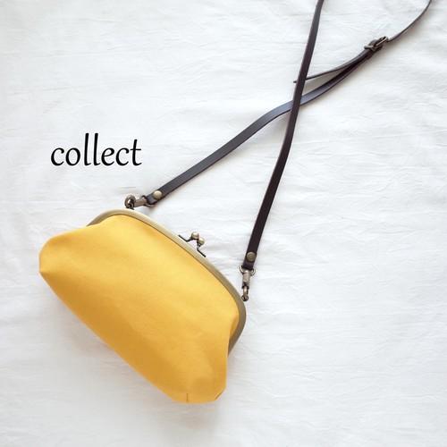 がまぐちポシェット【帆布*黄色】
