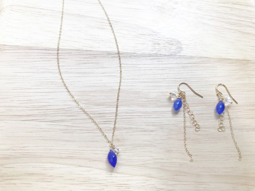 14kgf blue chalcedony necklace