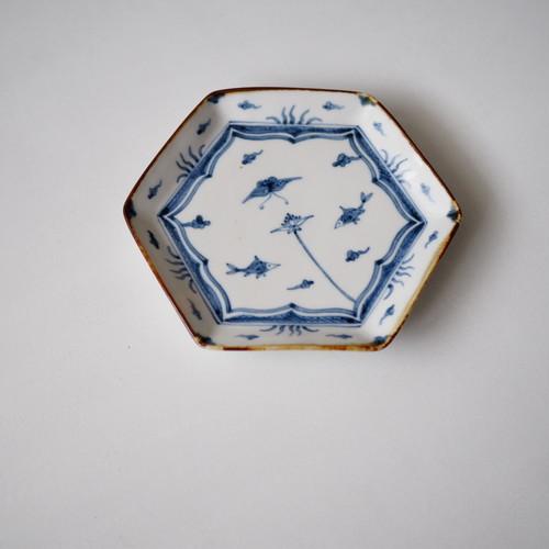須藤拓也 染付六角皿・魚と蝶