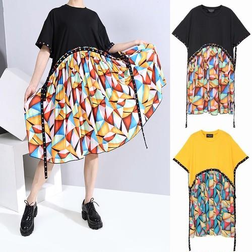 ワンピース プリーツ ベルフラワー プリント 韓国ファッション レディース ゆったりウエスト 大人カジュアル 大人可愛い ルーズ