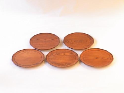 山中塗 木製 十二角 銘々皿5枚組 うるし塗