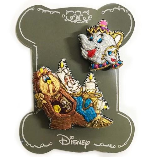 Disney 刺繍ミニブローチ/Lumi&Cogs&Potts&Chip