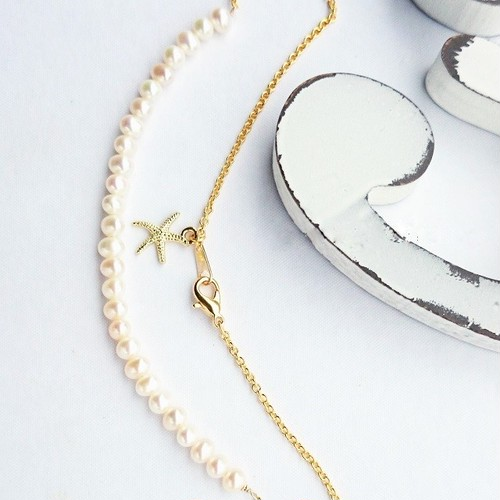 送料無料14kgf*Freshwater pearl*starfish necklace