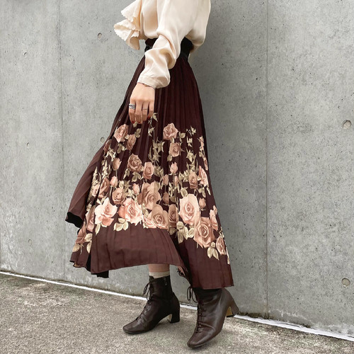 (LOOK) floral pleats flare skirt