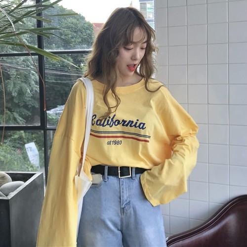 【トップス】アルファベットプリント長袖ゆるいTシャツ