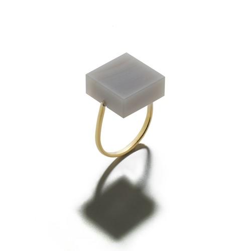ツヤ消しカラーアゲートリング/四角形/4色
