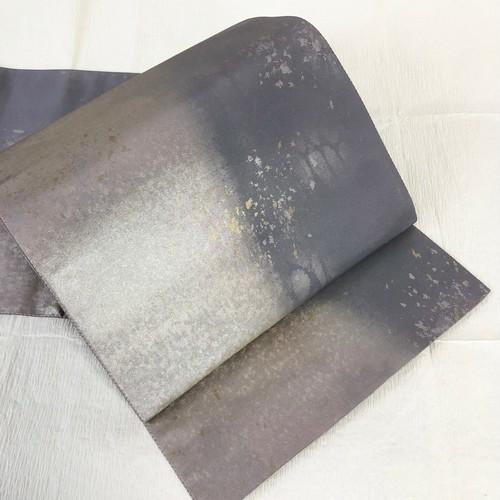 【締め跡なし】アシメントリー2トーン袋帯 引き箔 金銀散らし 六通 ライトグレー&パープルグレー