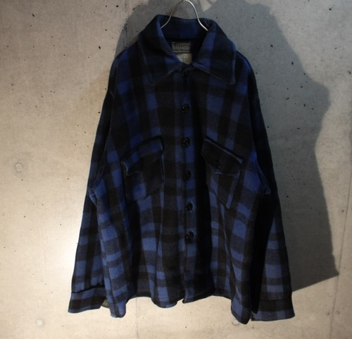70s Block Check Wool Shirt Jacket