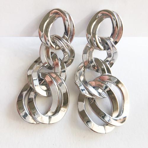 """Monet"" silver chain dangle earring[e-1346] ヴィンテージイヤリング"