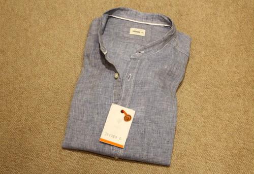 jacopo c. Band Collar Linen Shirts Saxe Blue