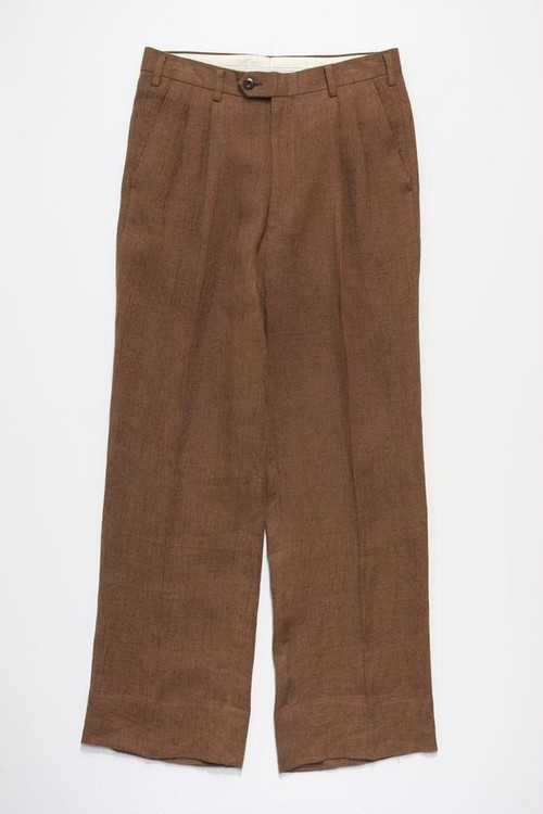 LINEN WASHED TROUSERS (BROWN)