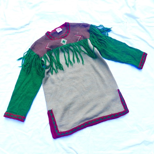 KENZO 1970's(!) Tribal Pattern Fringe Knitted Top